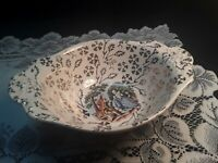 HOMER LAUGHLIN ATLAS CHINA 22K WARRANTED COURTING COUPLE SERVING DISH EGGSHELL