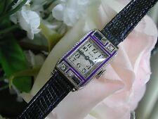 Ladies Art Deco Sapphire & Diamond Enamel Elgin Watch~Runs