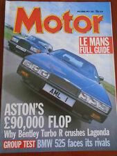 Motor 4/6/88 Aston Martin Lagonda vs Bentley Turbo R, BMW 525i SE
