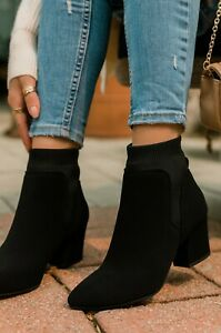 New Women Pointed Toe Stretchy Knitted Ankle Booties Boot Pull On Med Block Heel