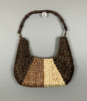 Straw Woven Crescent Shape Bag Brown Beige Natural Bamboo Handle Zip Pocket