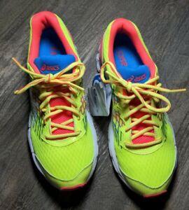 Asics Gel Nimbus FluidRide C519N Men's 6.5 or Women's 8 NWT Yellow Pink Blue