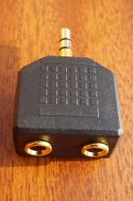 2 to1 STEREO HEADPHONE ADAPTER- 24K GOLD PLATED 3.5mm Plug to 2 x 3.5mm Sockets