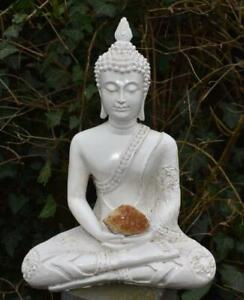Large Shabby Chic Meditation Buddha With Natural Unique Citrine Cluster Crystal