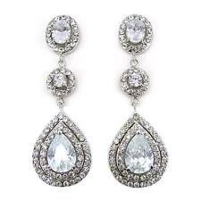 Luxury Twinkling 6.5cm Long Dangle Dangly Drip Use Austria Crystal CZ Earrings