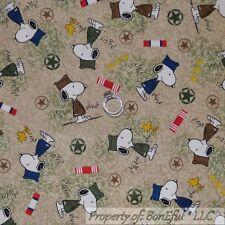 BonEful Fabric FQ Cotton Quilt Brown Green Military Camo SNOOPY Peanuts Uniform