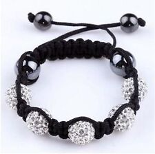 CHILDRENS SPARKLY CLEAR WHITE SHAMBALLA BRACELET-5 DISCO BEADS-CZECH CRYSTAL-UK