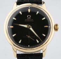 Omega Ω Vintage Men's 14k Yellow Gold Automatic Watch w/ Black Leather Strap