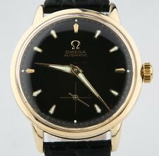 Vintage Omega Ω Men's 14k Yellow Gold Automatic Watch w/ Black Leather Strap