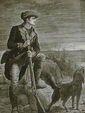 American Revolution 1876 SOLDIER RIFLE MUSKET & WATCH DOG J. Scott Print Matted