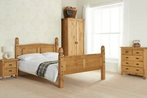 Traditional Charming Waxed Solid Pine High Or Low End Corona Bed In 4FT 4FT6 5FT