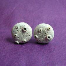 Moon Stud Earrings - Full Moon Studs Polymer Clay Jewellery Astronomy Steel Goth