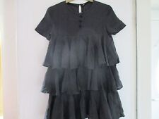 "Pure Washed Silk black Top Shop clown dress,tiered size 8. ""Like Strictly!"""