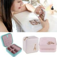 PU Leather Travel Zip Jewelry Necklace Earrings Watch Box Storage Case Organizer