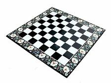2'x2' black marble chess table top coffee side inlay lapis malachite room c213