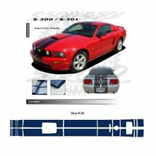 Ford Mustang GT 2005-2009 w/ Hood Scoop Stripes Graphic Kit - Blue