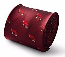 Corbata Para Hombre Marrón Con Impresión De Zorro De Caza Por Frederick Thomas FT3342