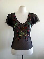 Alannah Hill size 8 sheer black v-neck top, short sleeves and decorative trim