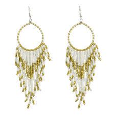White Tribal Navajo Long Bead Dangle Hoop Earrings Proceeds to Animal Rescue