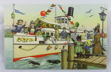 Vintage Alfred Mainzer Dressed Humanized Cat Postcard Sailing Away Yacht Boat