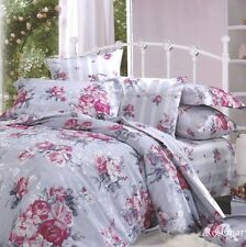 Cotton Viscose Jacquard Queen Quilt Cover Set ROSEMARY Grey PINK Doona Set NEW