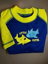 LAGUNA BOYS SWIM SUN RASH GUARD SZ 5 Blue Shark UV 50+ NWT