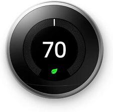 Google Nest Programmable Thermostat 3rd Gen Polished Steel Model T3019US