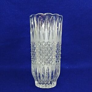 "Vase Pressed Glass Diamond Cut Frosted Ridge Pattern Scalloped Rim 8.25"" Tall"