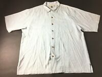 Tommy Bahama Mens Blue Front Pocket Button Front Short Sleeve Silk Shirt Size XL