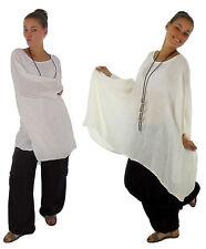 HH900W Damen Tunika Poncho Bluse Leinencrash Lagenlook one size weiß Plus Size