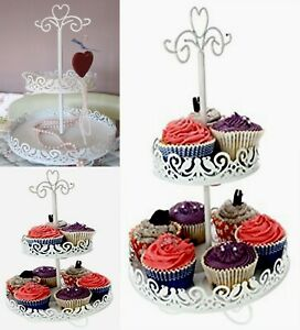 White Metal Lovebirds 2 Tier Jewellery or Cake / Cookie Stand