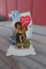 Antique Victorian to my love 1910 Stand-Up Valentine Greeting Card sailboat boat