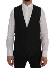 DOLCE & GABBANA Vest Waistcoat Black Wool Stretch Gilet IT52 /US42 / XL