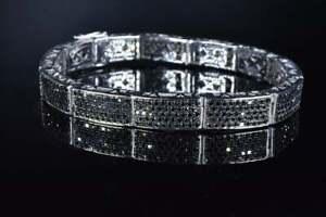 Rich Shiny Black 6.94CT Onyx In Real 925 Solid Silver Fantastic Men's Bracelets