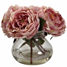 Nearly Natural 1391-Pk Fancy Rose with Vase, Pink