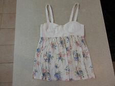 Women's FOREVER NEW Size 8 AU Crop Singlet/Tank Top Cream ExCon Floral Cotton