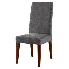 Sure Fit Stretch Jacquard Damask Short Dining Room Chair GRAY
