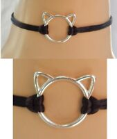 Cat Choker Necklace Cat Ears Jewelry Handmade NEW Black Chain Fashion Silver
