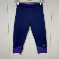 Adidas Tech Fit Climalite Womens Blue Size Small Athletic Running Capri Leggings