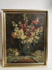 4223D-Ölgemälde-Bild-Öl auf Holz-Stillleben-gerahmt-Gemälde-Ölbild-signiert-Abel