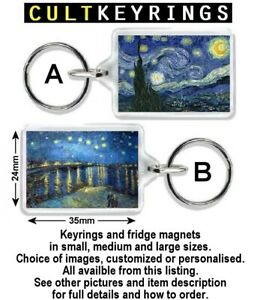Vincent van Gogh keyring / fridge magnet - Starry Night, Sunflowers, Quotes