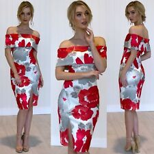 Off The Shoulder Size 14 Floral Red N White