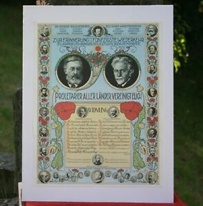 Original Jugendstil Gedenkbild Farblithographie 50. Jahrestag Gründung SPD 1913