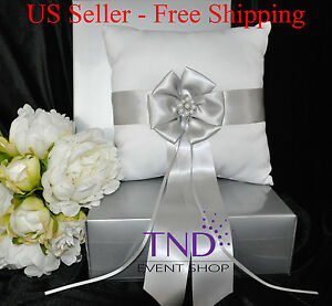 SATIN WEDDING RING BEARER PILLOW ACCENTED W/ SILVER SATIN RIBBON & PEARL FLOWER