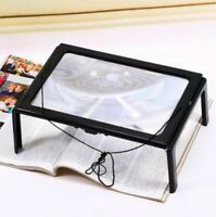 LED Foldable 3X Hands Free Magnifying Reading Table Desk Light Glass Magnifier