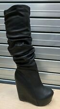 CLEARANCE Womans Black Size 3 Knee High Wedge Heel Platform Goth Cosplay Boots