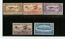 Egypt #172-176 (EG371) comp 1933 Airplane, Zeppelin etc, M, H, FVF, CV$90.00