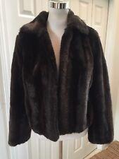 Ann Taylor LOFT Brown Faux Fur Short Jacket 10 Excellent