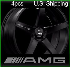 4 AMG Stickers Decals Door Handle Wheels Wing Mirror Mercedes Benz Rims SILVER