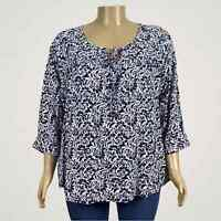 Anne Carson Floral Print Linen Blend Peasant Shirt Top 2X PLUS Navy Blue White